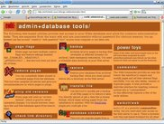 database administration start screen, many tools available