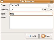 Expense Tracker in Linux - Add Expense