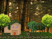 An empty forest scene that shows the relative complexity of scenery that can be achieved by creatively using the same texture files in varying patterns.
