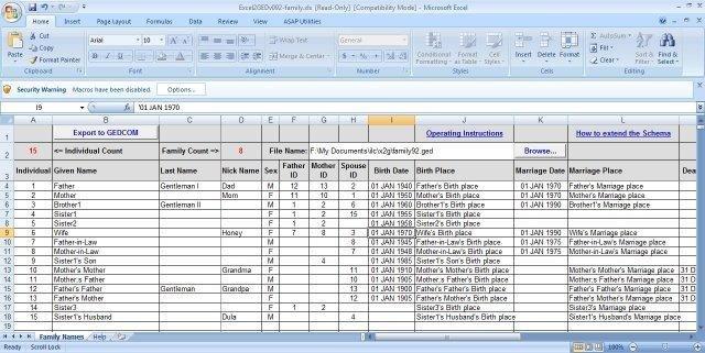 family tree spreadsheet