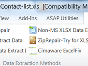Showing the Excel Recovery Add-in data extraction methods.