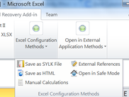 Showing the toolbar with the Microsoft recommended Excel configuration data recovery methods.