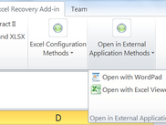 Screenshot of th toolbar in Excel 2010 with the Open in Extrnal program methods recommended by Microsoft.