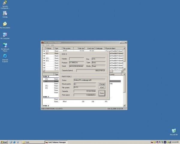 Ext2Fsd screenshot