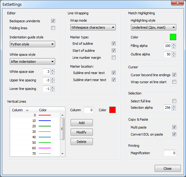 ExtSettings plugin