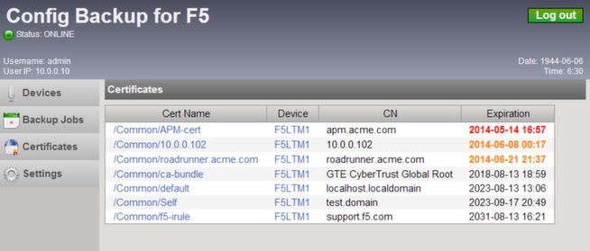 Config Backup for F5 download | SourceForge net