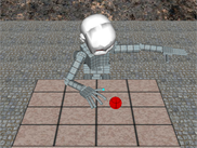 A simulated iCub robot that reaches and grasps a spherical object located over a table - Snapshots taken from the 3D robot/environment renderer of FARSA