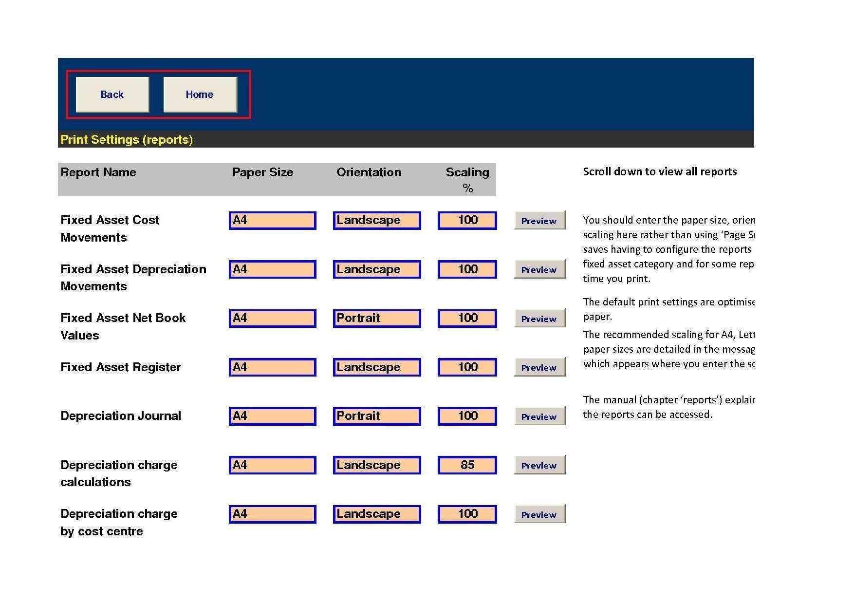 worksheet Depreciation Worksheet fixed assets pro excel download sourceforge net print settings