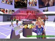 A music-store scene by Cube3, showing avatars, videos, HUD