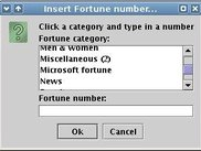 Screenshot of the categories available in Fortune-Java