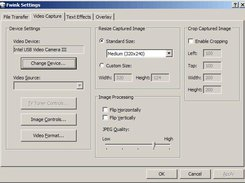 Video capture settings dialog