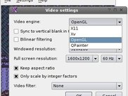 Gambatte Qt video settings dialog on Linux