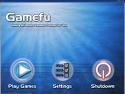 The main menu, shown upon opening Gamefu.