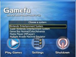 Gamefu's system selection list.
