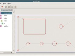 gCncCam shows a DXF-Drawing with connection and tool path
