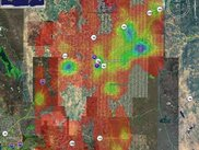 Geocache density plot using google earth of Sacramento, CA
