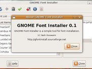 Gnome Font Installer about window