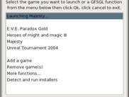 GFSGL 0.92.0 KDE interface launching a game