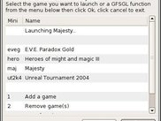 GFSGL 0.92.0 GTK2 interface launching a game
