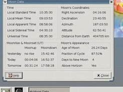 The moon data window and the moon applet in the gnome panel