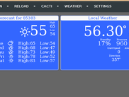 gnhastweb showing the home screen, with the forecast and weather widgets active