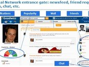 Main screen with social network capabilities
