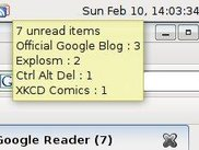 Tray icon: shows number of unread items and of which feed