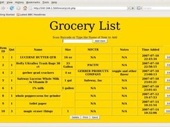 Main page of Grocery List showing sample list