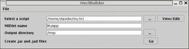 HeclBuilder makes it very easy to create new Hecl J2ME apps