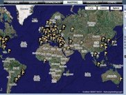Geographical Mapping - HIHAT displaying attack sources