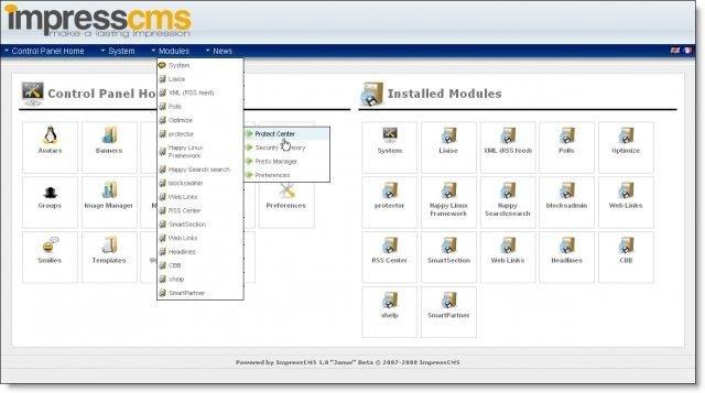 ImpressCMS screenshot