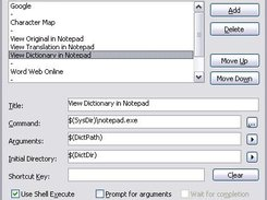 The configure external tools dialog