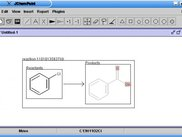JChemPaint rendering a simply reaction scheme.