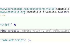 Scintilla editing HTML with a PHP calltip.