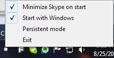 The KillSkypeHome options menu