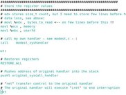 Assembly code showing how to intercept sys_write() syscall