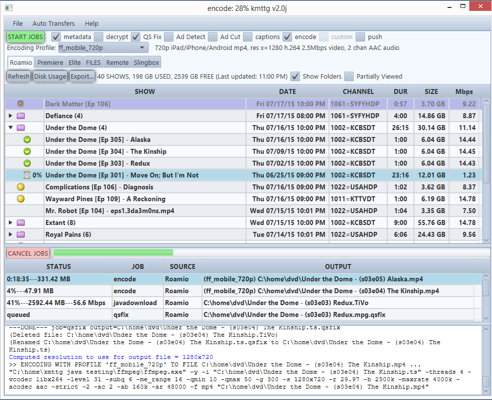 Screenshot of main window showing various options above tablature of TV shows metadata and job status log output