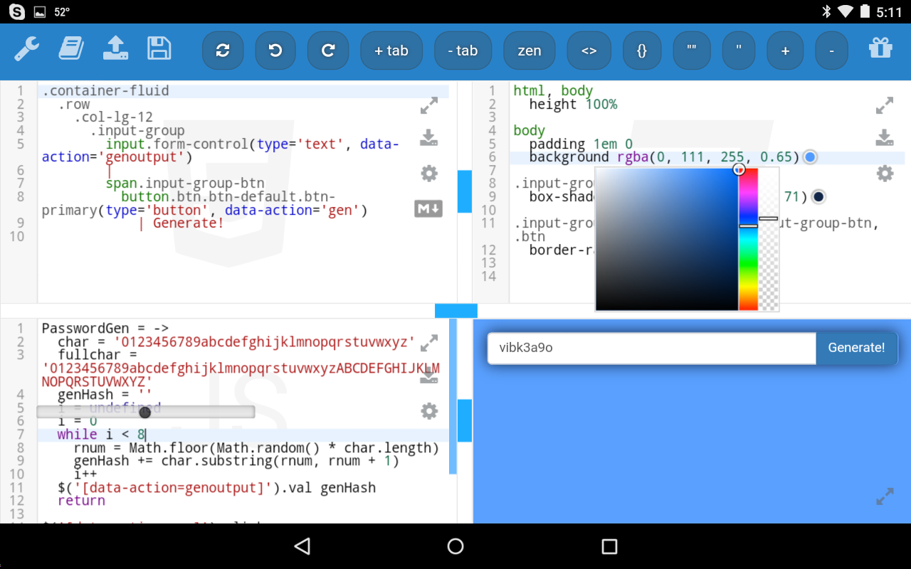 kodeweave a jsfiddle alternative for android