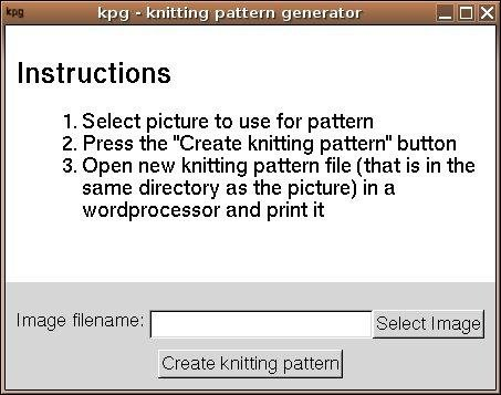 kpg - Knitting Pattern Generator | SourceForge.net