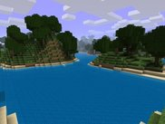 A lake generated by the Hills Terrain Generator.