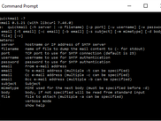Screenshot of quickmail command line help on Windows