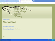 Current Britannia Secondary School Library Works Cited Page
