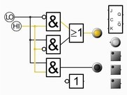 Digital logic gates (AND, OR), buttons, lamps, JK-Flip-Flop