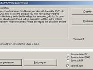 WordPro to Word dialogue screen