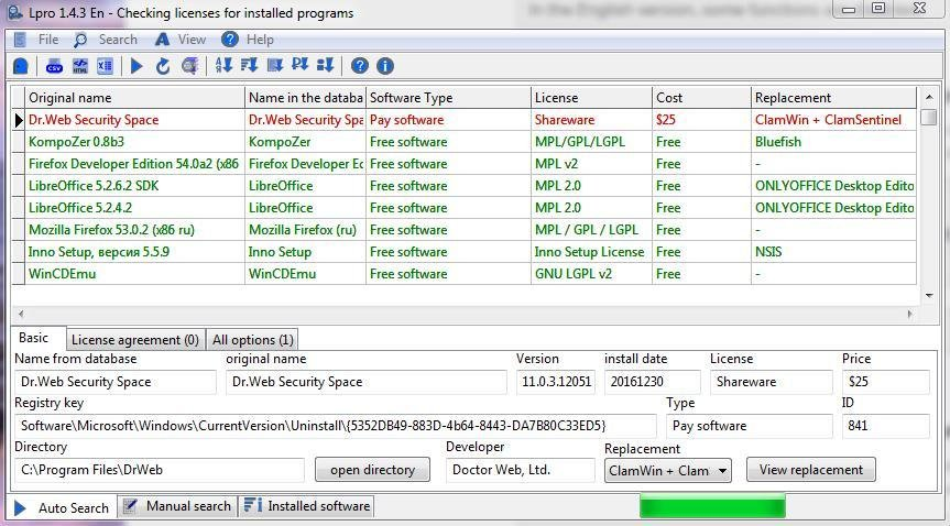 Checking the licenses of installed programs