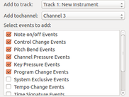 Recorded Events can be added to the Midi file