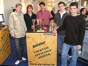 The Punica Team with the machine at Cebit2004