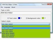 MSN nick Maker 1.0 Beta in Windows Vista Select a style.