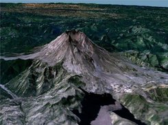SRTM + NLT LandSat 7: Mt. St. Helens, Washington