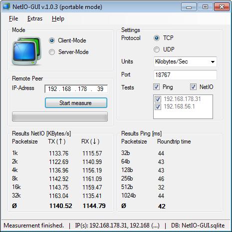 Screenshot of NetIO-GUI